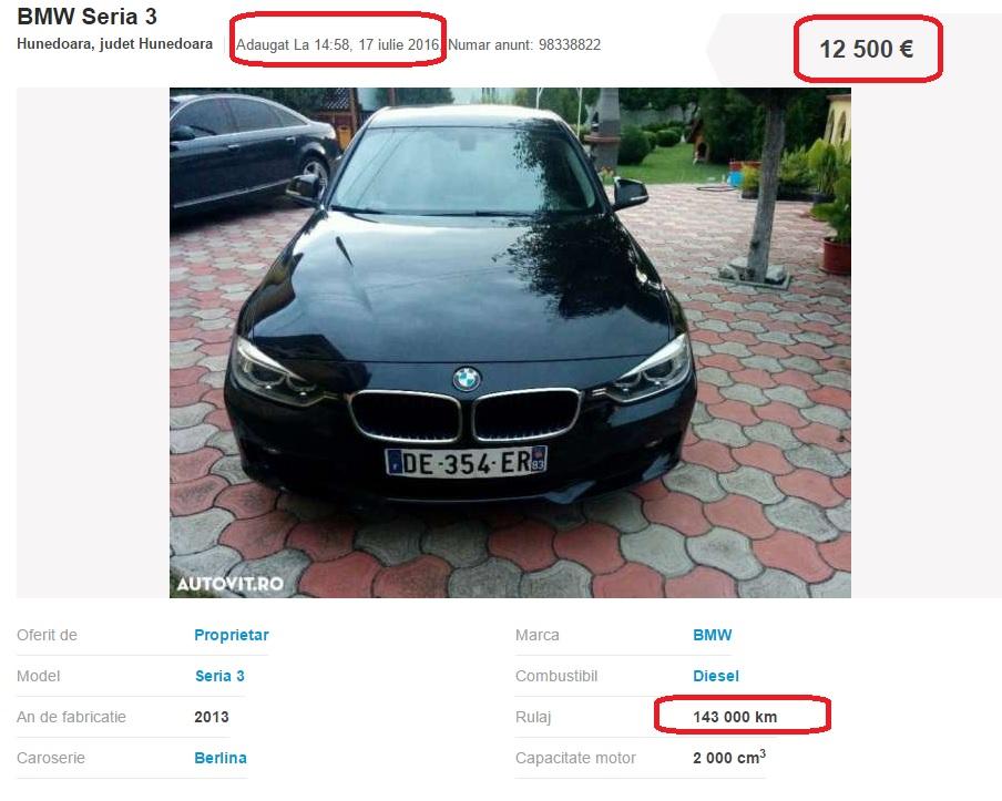 Cu cat a crescut pretul unui BMW Seria 3 dupa ce a dat 50.000 de kilometri inapoi?