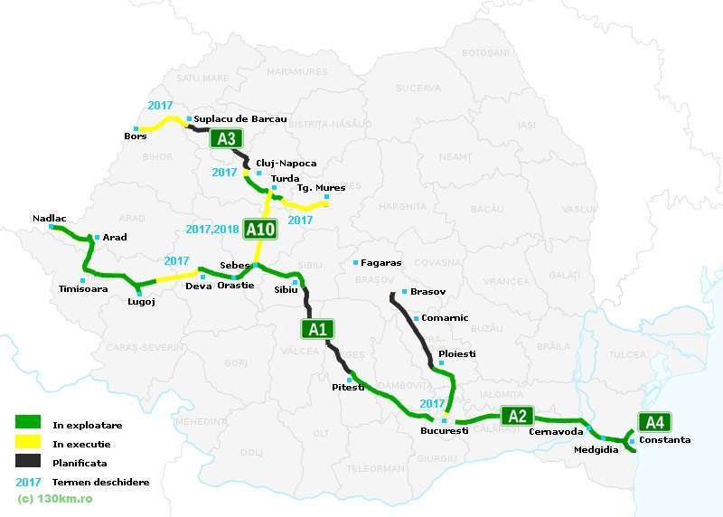 2016 a fost cel mai prost an pentru constructia de autostrazi din Romania