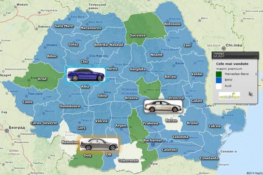 Harta Cele mai vandute masini premium