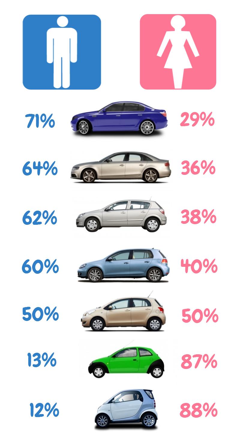 Infografic masini pentru barbati / femei